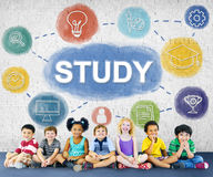 Learn And Lead Research Knowledge Graphic Concept. Kids Learn And Lead Research Knowledge Stock Images
