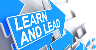 Learn And Lead - Text on Blue Arrow. 3D. Royalty Free Stock Photos
