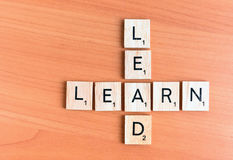 Learn and Lead text Stock Image