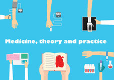 Learn medicine vector illustration. Medical education conceptual illustration. Different medical procedures vector Stock Photos