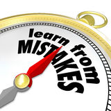Learn From Mistakes Words Compass Experiment Success Failure Try. Learn From Mistakes words on a gold compass to illustrate trying again after a failure to Stock Photography