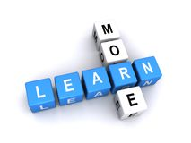 Learn more. Illustration of continuing education and lifelong learning using upper case white letters for  ' learn more' on cubes Royalty Free Stock Photos