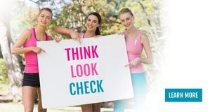 Learn more button with Think Look Check text and pink breast cancer awareness women holding card. Digital composite of Learn more button with Think Look Check Stock Photo