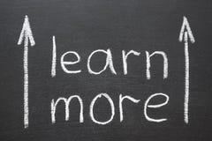 Learn more. Phrase handwritten on school blackboard Royalty Free Stock Image
