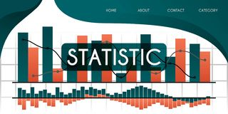 Learn more about statistics and charts in developing economies, businesses and companies vector illustration concept, can be use f. Or presentation, web, banner royalty free illustration