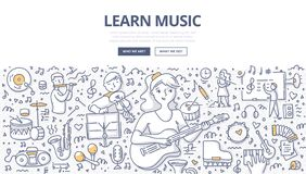 Learn Music Doodle Concept. Teenager girl learn music by playing guitar. Children with various musical instruments on music lesson. Doodle concept of learning stock illustration