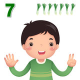 Learn number and counting with kid's hand showing the number s Stock Image