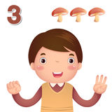 Learn number and counting with kid's hand showing the number t