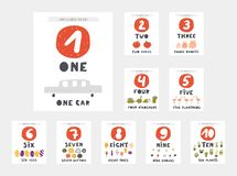 Free Learn Numbers Cards For Kids. Numbers One, Two, Three, Four, Five, Six, Seven Royalty Free Stock Image - 145484786