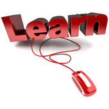 Learn online. Red and white 3D illustration of the word learn connected to a computer mouse Royalty Free Stock Photo
