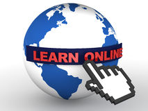Learn online. Online education or learning concept, globe with mouse icon and text in red, white background Stock Image