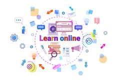 Learn Online Banner Internet Education Elearning Concept Stock Photo