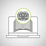 Learn online book brain intellect Royalty Free Stock Photography