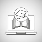 Learn online book graduation cap Royalty Free Stock Photography