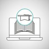 Learn online book graduation Stock Photo