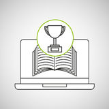Learn online book trophy winner design Stock Images