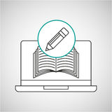 Learn online book writing pencil design Royalty Free Stock Photo