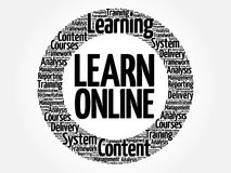 Learn Online circle word cloud Stock Images