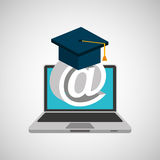 Learn online school email graduation Stock Photo