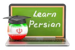 Learn Persian concept with laptop blackboard, graduation cap and. Flag of Iran, 3D Stock Photos