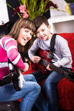 Learn play the guitar Royalty Free Stock Photography