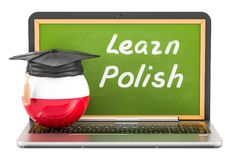 Learn Polish concept with laptop blackboard, graduation cap and. Flag of Poland, 3D Stock Image