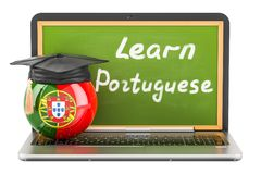 Learn Portuguese concept with laptop blackboard, graduation cap. And flag of Portugal, 3D Stock Image