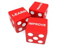 Learn practice and improve. An illustration of three dice with the words learn, improve and practice on them. Skills and practice concept image Stock Images
