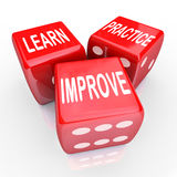 Learn Practice Improve Words 3 Red Dice Royalty Free Stock Photography