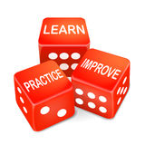 Learn, practice and improve words on three red dice Stock Image