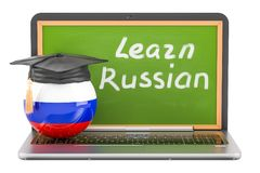 Learn Russian concept with laptop blackboard and graduation cap, Stock Image