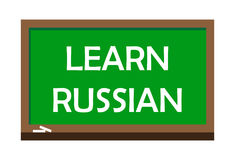Learn Russian write on green board, isolated backgraund Stock Photos