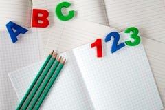 Learn schreiben und zählen Stockfoto