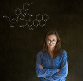 Learn science or chemistry teacher with chalk background Royalty Free Stock Image