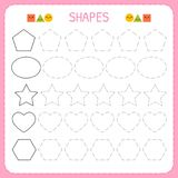 Learn shapes and geometric figures. Preschool or kindergarten worksheet for practicing motor skills. Tracing dashed lines for kids stock illustration