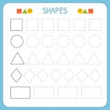 Learn shapes and geometric figures. Preschool or kindergarten worksheet for practicing motor skills. Tracing dashed lines vector illustration