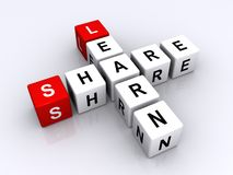 Learn and share. Letter blocks forming the words learn and share Stock Image