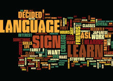 Learn Sign Language Text Background  Word Cloud Concept Royalty Free Stock Photo