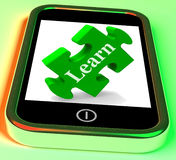 Learn On Smartphone Showing E-learning Stock Photography