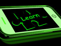 Learn On Smartphone Shows Recreational Education. And Training Royalty Free Stock Image
