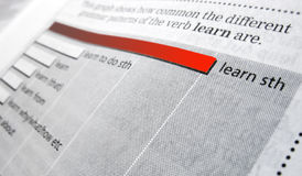 Learn something. A dictionary page with the word 'learn' and its usage. The longest bar highlighted in red Stock Photos