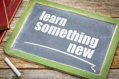 Learn something new advice on blackboard. Learn something new advice - white chalk text on a slate blackboard with books Royalty Free Stock Photo