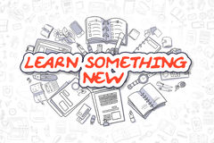 Learn Something New - Cartoon Red Text. Business Concept. Stock Photos