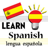 Learn Spanish. Colorful illustration with the Spanish flag and the text learn Spanish written with black letters Stock Images