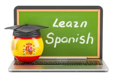 Learn Spanish concept with laptop blackboard and graduation cap,. 3D Stock Photos