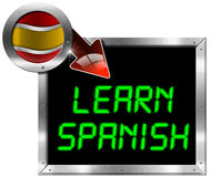 Learn Spanish - Metal Billboard Stock Photography