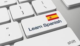 Learn Spanish online. Learn Spanish language online concept Royalty Free Stock Images