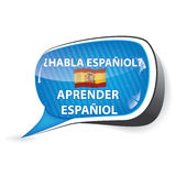 Learn Spanish  speech bubble Royalty Free Stock Image