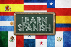 Learn Spanish. Vintage background concept royalty free stock image