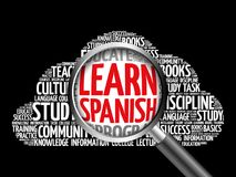 Learn Spanish word cloud. With magnifying glass, education concept 3D illustration Royalty Free Stock Photos